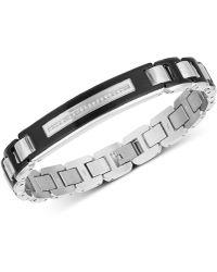 Macy's - Diamond Link Bracelet (1/10 Ct. T.w.) In Stainless Steel & Black Ion-plate - Lyst