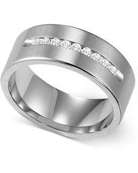 Triton | Men's Channel-set Diamond Wedding Band In Cobalt (1/4 Ct. T.w.) | Lyst