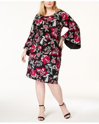 INC International Concepts - Plus Size Printed Bell-sleeve Dress, Created For Macy's - Lyst