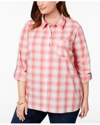 Tommy Hilfiger - Plus Size Cotton Plaid Tab-sleeve Shirt, Created For Macy's - Lyst