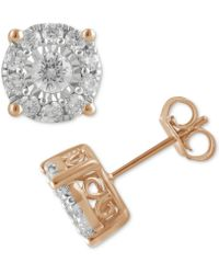 Macy's - Diamond Halo Stud Earrings (1 Ct. T.w.) In 14k Gold, White Gold Or Rose Gold - Lyst