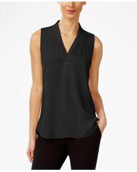 Calvin Klein - Pleated V-neck Shell - Lyst