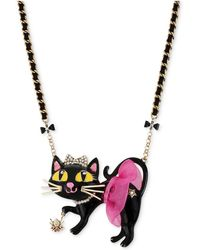 Betsey Johnson - Antique Gold-tone Tutu Cat Pendant Necklace - Lyst