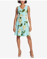 Tommy Hilfiger - Floral-printed Belted Fit & Flare Dress - Lyst