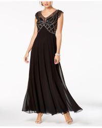J Kara - Embellished Cap-sleeve Gown - Lyst