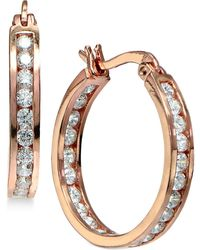 Giani Bernini - Cubic Zirconia Inside And Out Hoop Earrings In 18k Rose Gold-plated Sterling Silver - Lyst