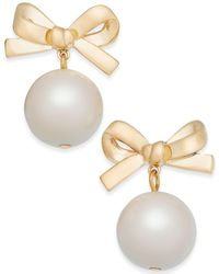 Kate Spade | 14k Gold-plated Imitation Pearl Bow Drop Earrings | Lyst