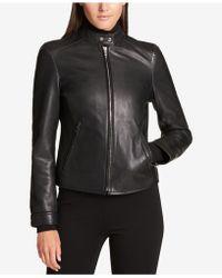 DKNY - Leather Moto Jacket - Lyst