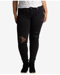 Silver Jeans Co. - Plus Size Aiko Lace Rip Skinny Jeans - Lyst