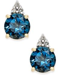 Macy's - London Blue Topaz (2 Ct. T.w.) And Diamond Accent Stud Earrings In 14k Gold - Lyst