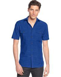 Alfani - Short Sleeve Warren Textured Shirt - Lyst