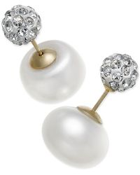 Macy's - Cultured Freshwater Pearl (11mm) And Cubic Zirconia Reversible Front And Back Earrings In 14k Gold - Lyst