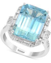 Effy Collection - Effy® Aquamarine (6-7/8 Ct. T.w.) & Diamond (1/2 Ct. T.w.) Ring In 14k White Gold - Lyst
