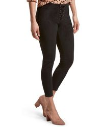 Hue - ® Lace-up Microsuede Skimmer Leggings - Lyst