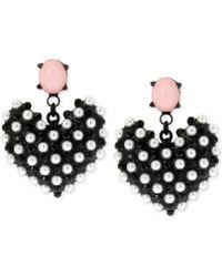Betsey Johnson - Black-tone Faux Pearl Heart Earrings - Lyst