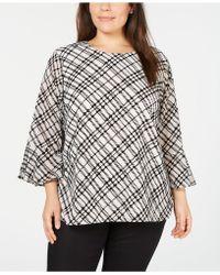 Calvin Klein - Plus Size Bias Plaid Top - Lyst