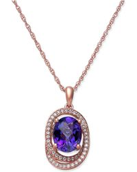 Macy's - Blue Topaz (2-1/4 Ct. T.w.) & Diamond (1/5 Ct. T.w.) Pendant Necklace In 14k White Gold (also Available In Amethyst) - Lyst