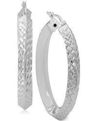 Macy's - Textured Angled Hoop Earrings In Sterling Silver - Lyst
