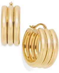 Signature Gold - Triple Ribbed Hoop Earrings In 14k Gold - Lyst