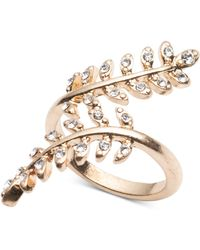Lonna & Lilly - Gold-tone Pavé Leaf Wrap Ring - Lyst