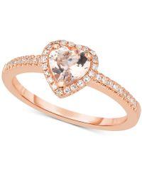 Macy's - Morganite (5/8 Ct. T.w.) & Diamond (1/6 Ct. T.w.) Ring In 14k Rose Gold - Lyst