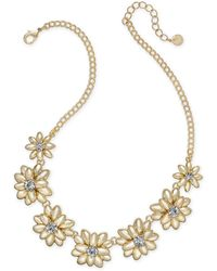 """Charter Club - Gold-tone Crystal & Stone Flower Statement Necklace, 17"""" + 2"""" Extender, Created For Macy's - Lyst"""