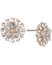 Carolee - Gold-tone Crystal Flower Stud Earrings - Lyst