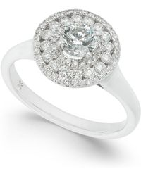 Macy's - Diamond Circle Cluster Halo Engagement Ring (1 Ct. T.w.) In 14k White Gold - Lyst