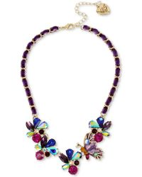 "Betsey Johnson - Gold-tone Multi-stone Butterfly & Ribbon Statement Necklace, 16"" + 3"" Extender - Lyst"