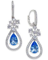 Danori - Silver-tone Crystal & Pavé Teardrop Orbital Drop Earrings - Lyst