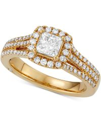 Marchesa - Celeste Halo By Princess Cut Diamond Engagement Ring (1-1/5 Ct. T.w.) In 18k White, Yellow Or Rose Gold, Created For Macy's - Lyst
