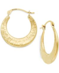 Macy's - Ribbed Hoop Earrings In 10k Gold, 3/4 Inch - Lyst