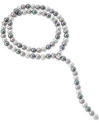 "Majorica - Sterling Silver Imitation Baroque Pearl & Cubic Zirconia 18"" Pendant Necklace - Lyst"