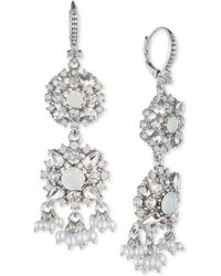 Marchesa - Crystal & Imitation Pearl Double Drop Earrings - Lyst