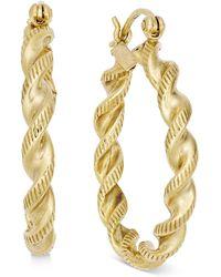 Macy's - Twisted Rope-style Hoop Earrings In 14k Gold - Lyst