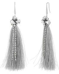 Catherine Malandrino - White Rhinestone Silver-tone Gray Tassel Earrings - Lyst
