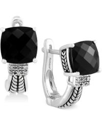 Effy Collection - Black Onyx (3-1/2 Ct. T.w.) And Diamond Accent Earrings In Sterling Silver - Lyst