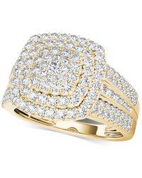 Macy's - Diamond Cluster Ring (1 Ct. T.w.) In 14k Gold - Lyst