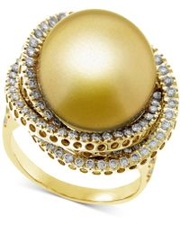 Macy's - Cultured Golden South Sea Pearl (13mm) & Diamond (1 Ct. T.w.) Ring In 14k Gold - Lyst