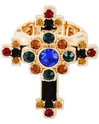 Guess - Gold-tone Multicolor Crystal Cross Stretch Ring - Lyst