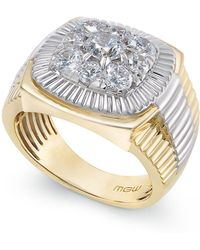 Macy's - Men's Diamond Cluster Two-tone Ring (2 Ct. T.w.) In 14k Gold - Lyst