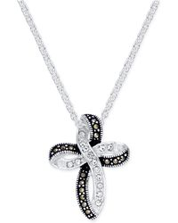Macy's - Marcasite (1 Ct. T.w.) & Crystal Looped Cross Pendant Necklace In Fine Silver-plate - Lyst