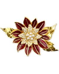 Charter Club - Gold-tone Pavé & Imitation Pearl Poinsettia Brooch - Lyst