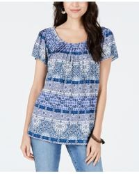 Style & Co. - Pleated-neck Floral-print Top, Created For Macy's - Lyst