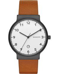 Skagen - Men's Ancher Light Brown Leather Strap Watch 40mm Skw6297 - Lyst
