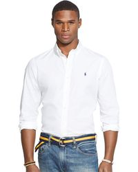 Polo Ralph Lauren - Poplin Navy Solid Shirt - Lyst