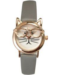 Olivia Pratt - Geeky Cat Leather Strap Watch - Lyst
