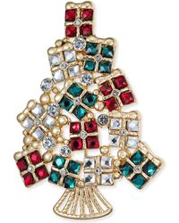 Charter Club - Gold-tone Stone & Crystal Christmas Present Tree Pin, Created For Macy's - Lyst