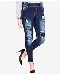 City Chic - Trendy Plus Size Harley Patched Skinny Jeans - Lyst
