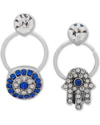 Lonna & Lilly - Silver-tone Crystal Hamsa Hand Mismatch Drop Earrings - Lyst